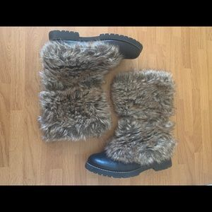 """Wanted Faux Fur Tall Boots Size 7.5"""""""